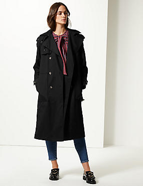 Cotton Rich Trench Coat, BLACK, catlanding
