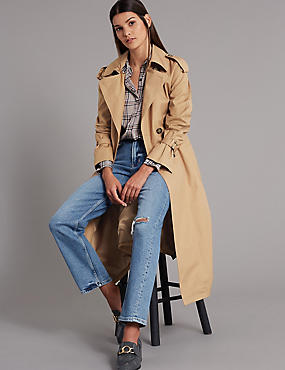 Trench Coat with Silk, BEIGE, catlanding