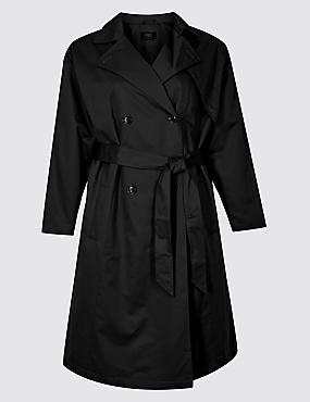 CURVE Longline Trench Coat with Stormwear™, BLACK, catlanding