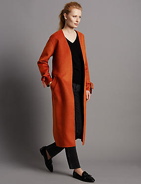 Wool Blend Spilt Coat with Belt