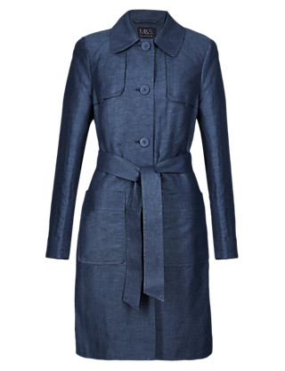 Linen Blend Chambray Trench Mac Clothing