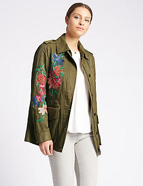 Cotton Blend Embroidered Jacket