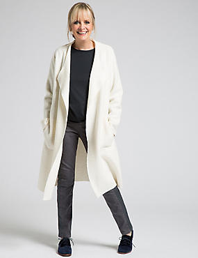 Wool Blend Open Front Jacket