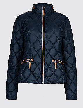 Padded Down & Feather Jacket with Stormwear™, NAVY, catlanding