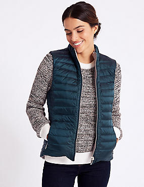 Reversible Quilted Gilet with Down & Feather, PETROL MIX, catlanding