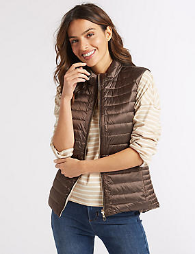Reversible Quilted Gilet with Down & Feather, MINK MIX, catlanding