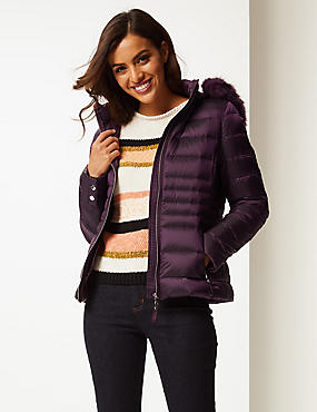Padded Down & Feather Jacket with Stormwear™, DEEP PURPLE, catlanding