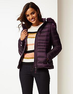 Padded Down & Feather Jacket with Stormwear™, DEEP PURPLE, catlanding