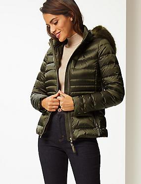 Padded Down & Feather Jacket with Stormwear™, FERN GREEN, catlanding