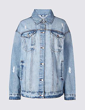 Oversized Denim Jacket , BLUE, catlanding