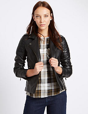 Faux Leather Stich Detail Biker Jacket