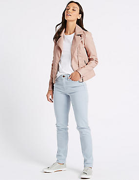 Faux Leather Biker Jacket, NUDE PINK, catlanding