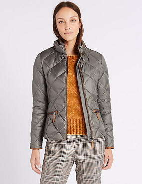 Down & Feather Jacket with Stormwear™, SAGE, catlanding