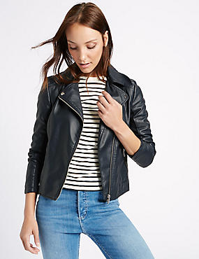 Crossed Zipped Biker Jacket, , catlanding