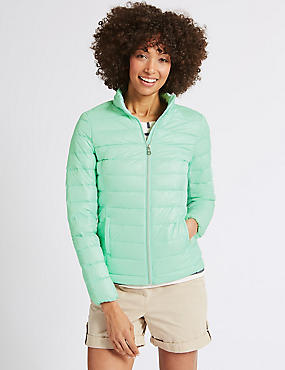 Lightweight Down & Feather Jacket, PALE JADE, catlanding