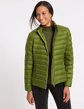 Lightweight Down & Feather Jacket, FERN GREEN, catlanding