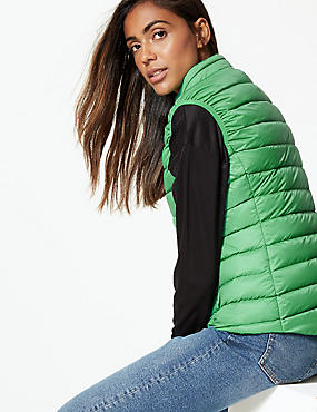 Lightweight Down & Feather Gilet with Stormwear™, GREEN, catlanding