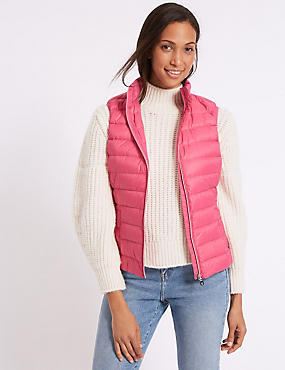 Down & Feather Gilet with Stormwear™, VERY PINK, catlanding