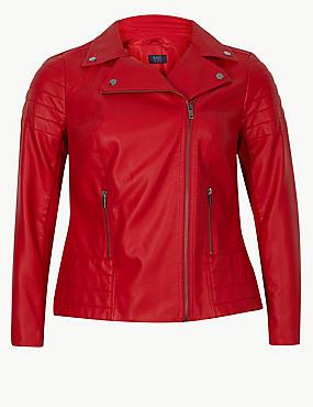 CURVE Faux Leather Biker Jacket, BRIGHT RED, catlanding