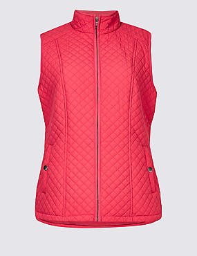Quilted Gilet with Stormwear™, HOT PINK, catlanding