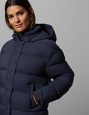 Padded Goose Down & Feather Jacket, DARK NAVY, catlanding