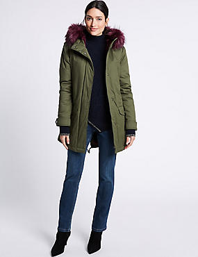 Pure Cotton Faux Fur Trim Parka