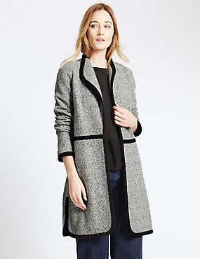 Crew Neck Boucle Casual Coat