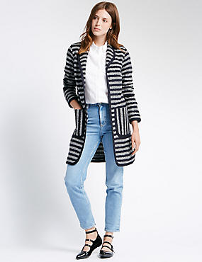 Striped Textured Coat with Wool
