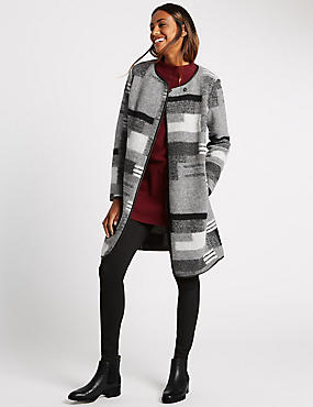 Wool Blend Patchwork Coat