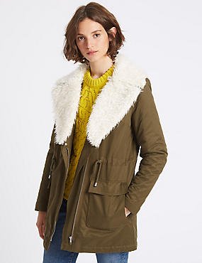 Cotton Rich Shearling Parka
