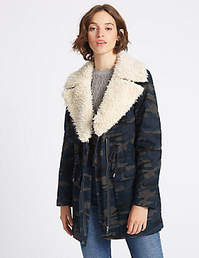 Pure Cotton Printed Shearling Parka