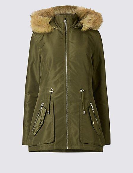 Padded parka coat with stormwear