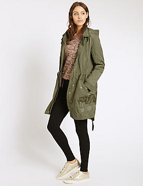 Cotton Blend Embroidered Parka