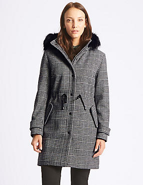 Checked Drawstring Waist Parka