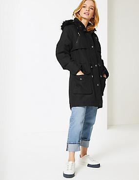 PETITE Faux Fur Parka with Stormwear™, BLACK, catlanding