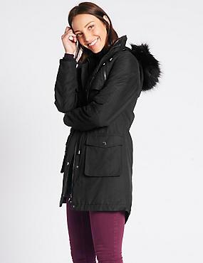 Padded Parka with Stormwear™, BLACK, catlanding