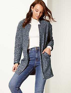 Textured Open Front Coat , NAVY, catlanding
