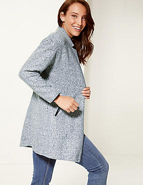 Textured Open Front Coat , GREY MARL, catlanding