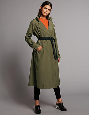 Fold Away Parka Coat with Belt