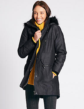 Metallic Drawstring Waist Padded Parka