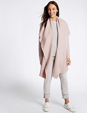 Wool Blend Textured Waterfall Jacket