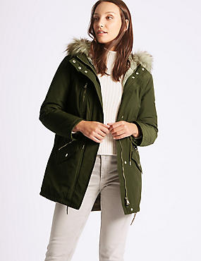 Cotton Blend Faux Fur Parka