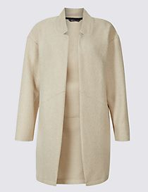Textured Open Front Coat