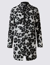 Textured Animal Print Coat