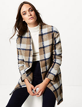 Checked Open Front Jacket
