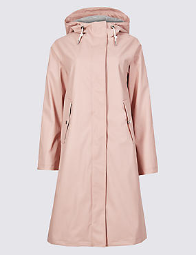 Faux Leather Longline Parka, PINK, catlanding