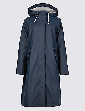 Faux Leather Longline Parka, NAVY, catlanding