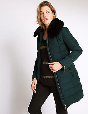 Faux Fur Padded & Quilted Coat