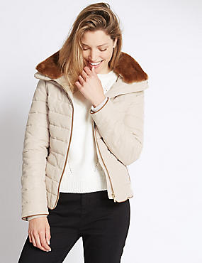 Padded Funnel Neck Hooded Jacket
