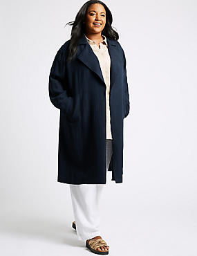 CURVE Linen Rich Waterfall Jacket , NAVY, catlanding